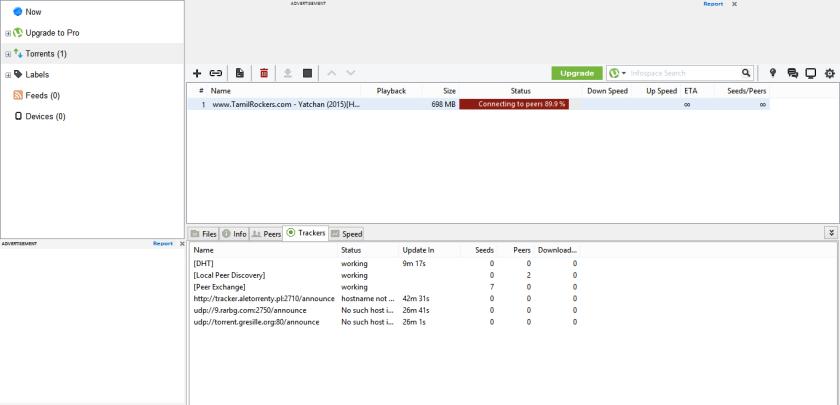 finding peers 0.0 utorrent